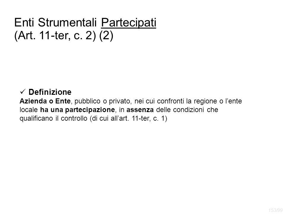 Enti Strumentali Partecipati (Art. 11-ter, c. 2) (2) Definizione Azienda o Ente, pubblico o privato, nei cui confronti la regione o l'ente locale ha u
