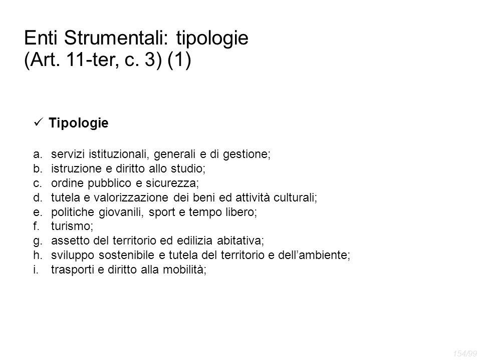 Enti Strumentali: tipologie (Art. 11-ter, c. 3) (1) Tipologie a.servizi istituzionali, generali e di gestione; b.istruzione e diritto allo studio; c.o