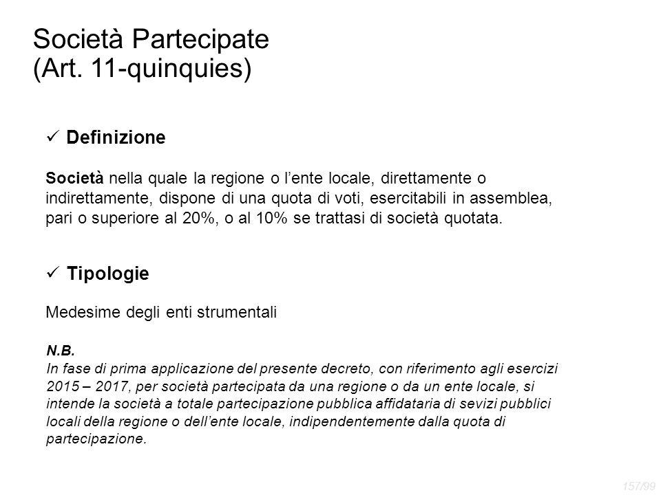 Società Partecipate (Art. 11-quinquies) Definizione Società nella quale la regione o l'ente locale, direttamente o indirettamente, dispone di una quot