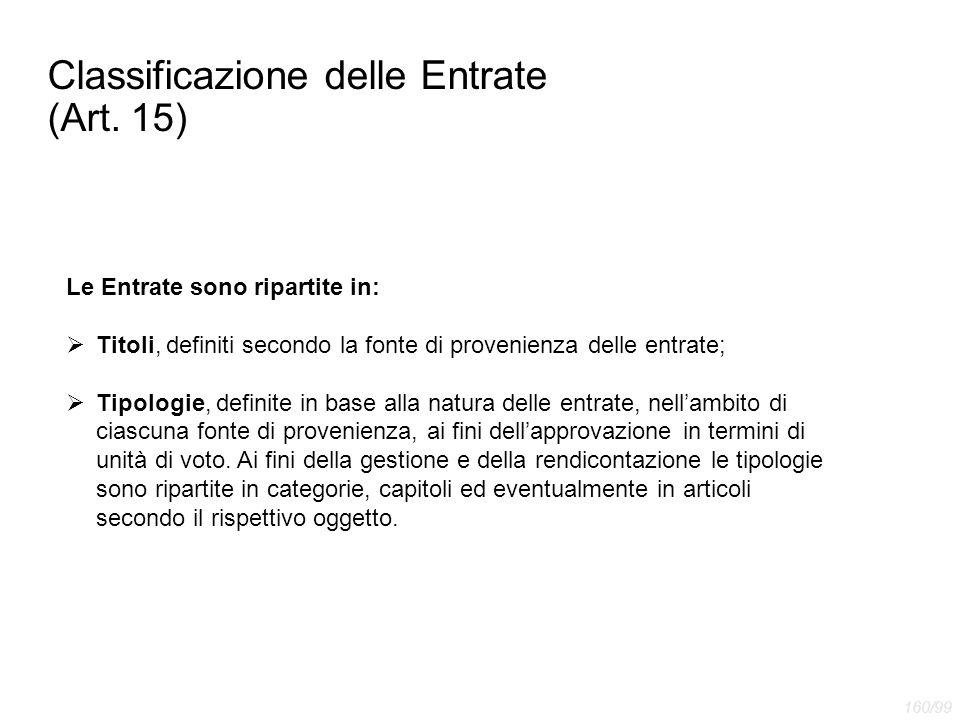Classificazione delle Entrate (Art. 15) Le Entrate sono ripartite in:  Titoli, definiti secondo la fonte di provenienza delle entrate;  Tipologie, d