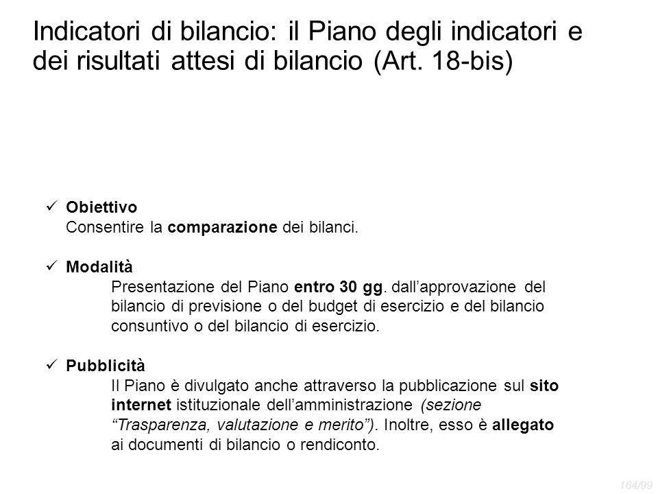 Indicatori di bilancio: il Piano degli indicatori e dei risultati attesi di bilancio (Art. 18-bis) Obiettivo Consentire la comparazione dei bilanci. M