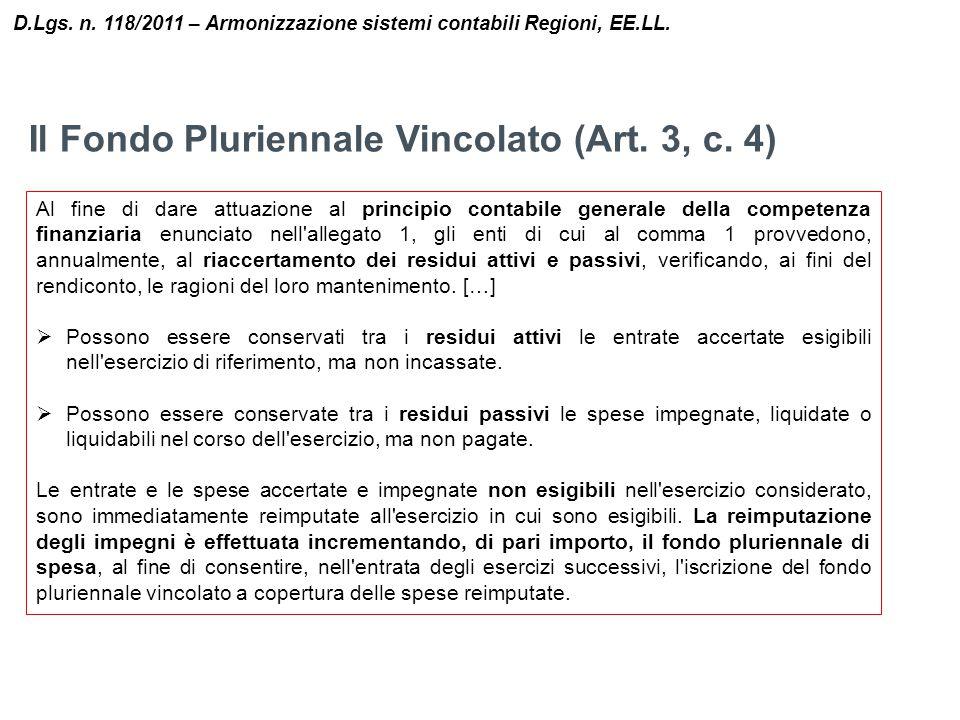 Il Fondo Pluriennale Vincolato (Art. 3, c. 4) D.Lgs. n. 118/2011 – Armonizzazione sistemi contabili Regioni, EE.LL. Al fine di dare attuazione al prin