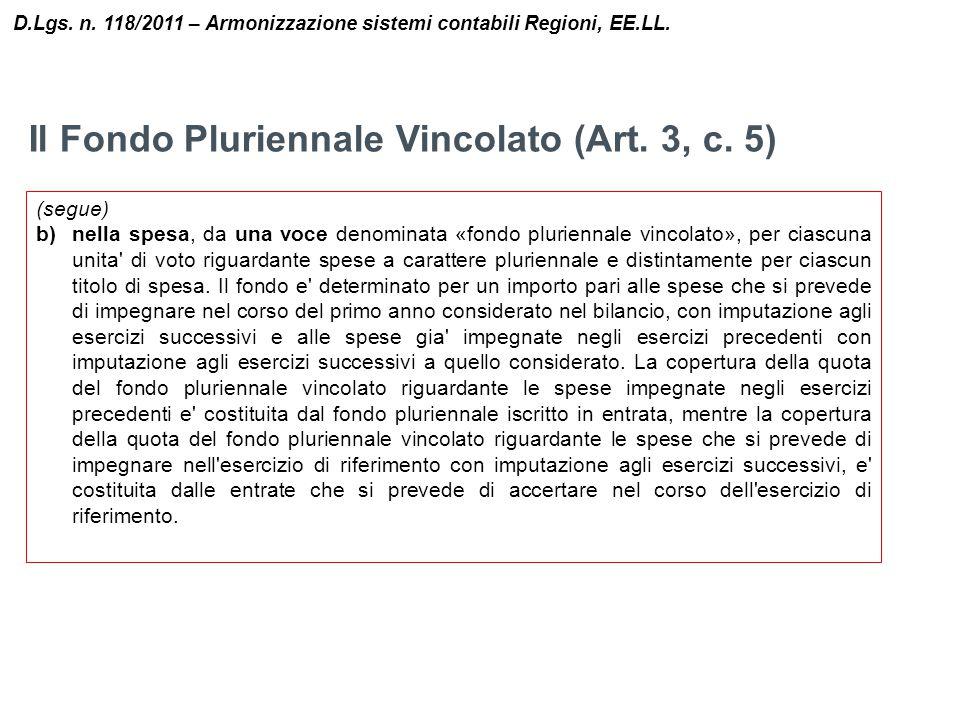 Il Fondo Pluriennale Vincolato (Art. 3, c. 5) D.Lgs. n. 118/2011 – Armonizzazione sistemi contabili Regioni, EE.LL. (segue) b)nella spesa, da una voce