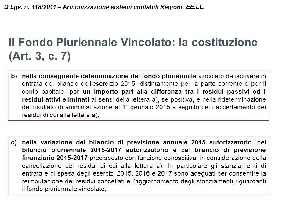 Il Fondo Pluriennale Vincolato: la costituzione (Art. 3, c. 7) D.Lgs. n. 118/2011 – Armonizzazione sistemi contabili Regioni, EE.LL. b)nella conseguen