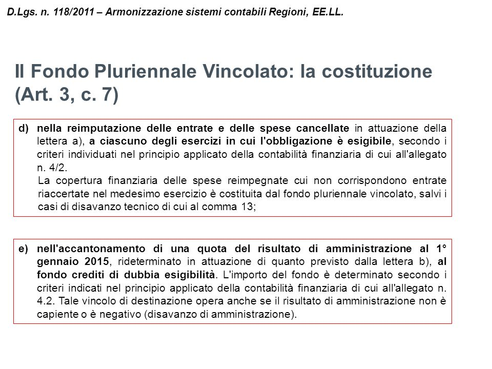 Il Fondo Pluriennale Vincolato: la costituzione (Art. 3, c. 7) D.Lgs. n. 118/2011 – Armonizzazione sistemi contabili Regioni, EE.LL. d)nella reimputaz