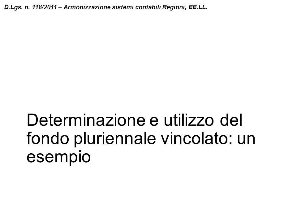 Determinazione e utilizzo del fondo pluriennale vincolato: un esempio D.Lgs. n. 118/2011 – Armonizzazione sistemi contabili Regioni, EE.LL.