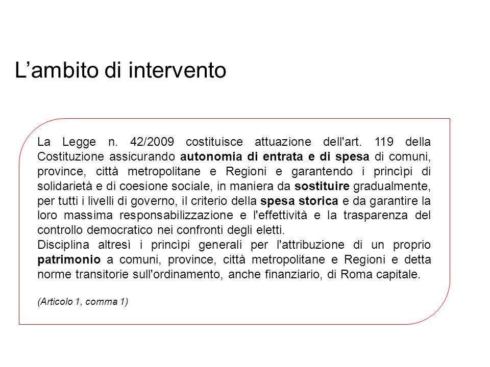 L'ambito di intervento La Legge n. 42/2009 costituisce attuazione dell'art. 119 della Costituzione assicurando autonomia di entrata e di spesa di comu
