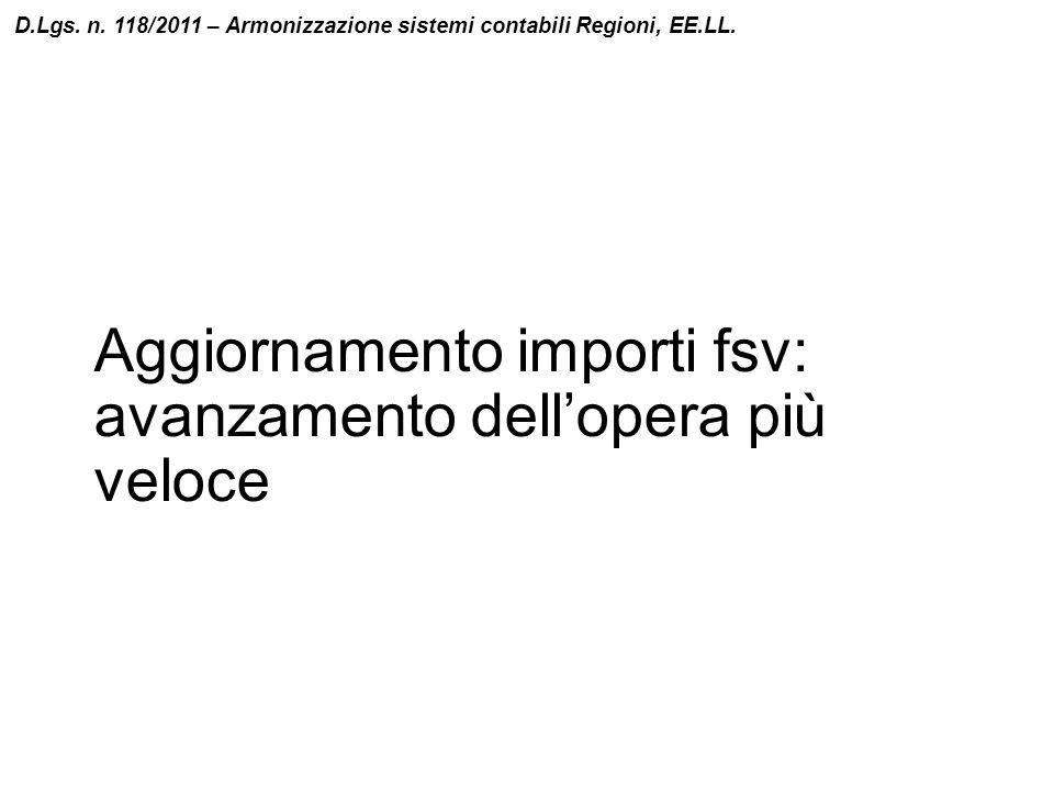 Aggiornamento importi fsv: avanzamento dell'opera più veloce D.Lgs. n. 118/2011 – Armonizzazione sistemi contabili Regioni, EE.LL.