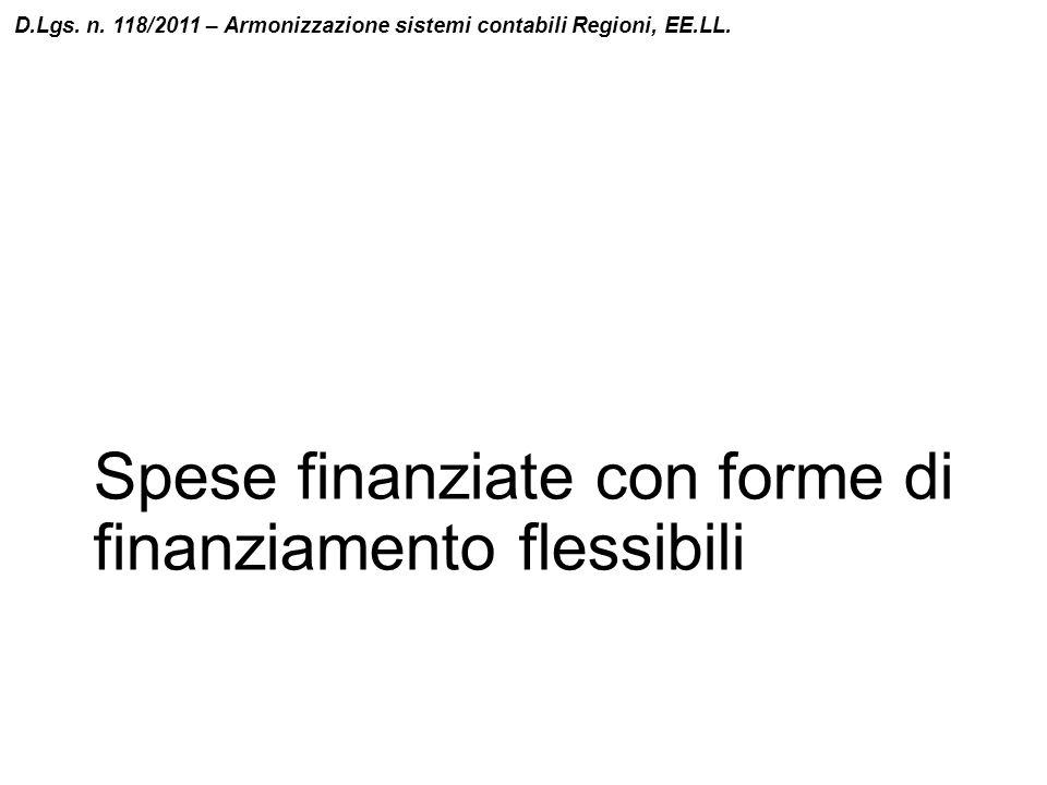 Spese finanziate con forme di finanziamento flessibili D.Lgs. n. 118/2011 – Armonizzazione sistemi contabili Regioni, EE.LL.