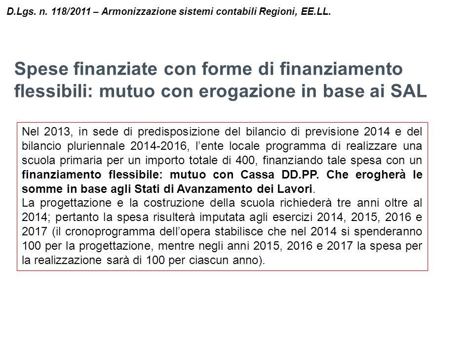 Spese finanziate con forme di finanziamento flessibili: mutuo con erogazione in base ai SAL D.Lgs. n. 118/2011 – Armonizzazione sistemi contabili Regi