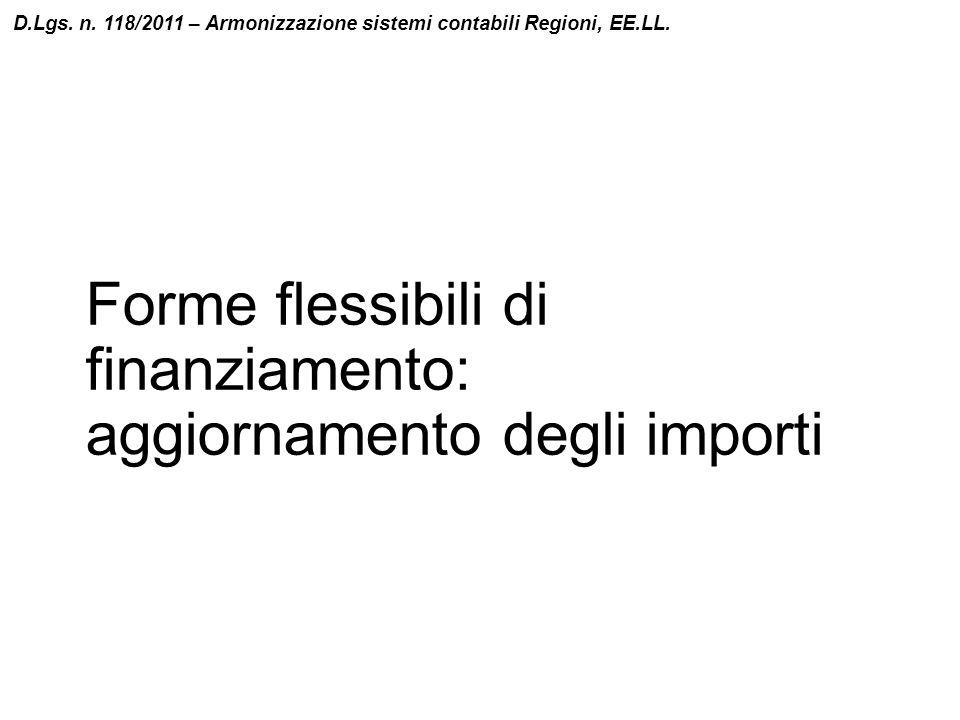 Forme flessibili di finanziamento: aggiornamento degli importi D.Lgs. n. 118/2011 – Armonizzazione sistemi contabili Regioni, EE.LL.