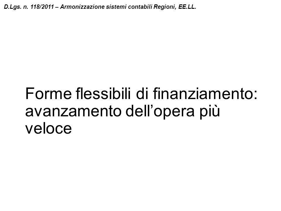 Forme flessibili di finanziamento: avanzamento dell'opera più veloce D.Lgs. n. 118/2011 – Armonizzazione sistemi contabili Regioni, EE.LL.