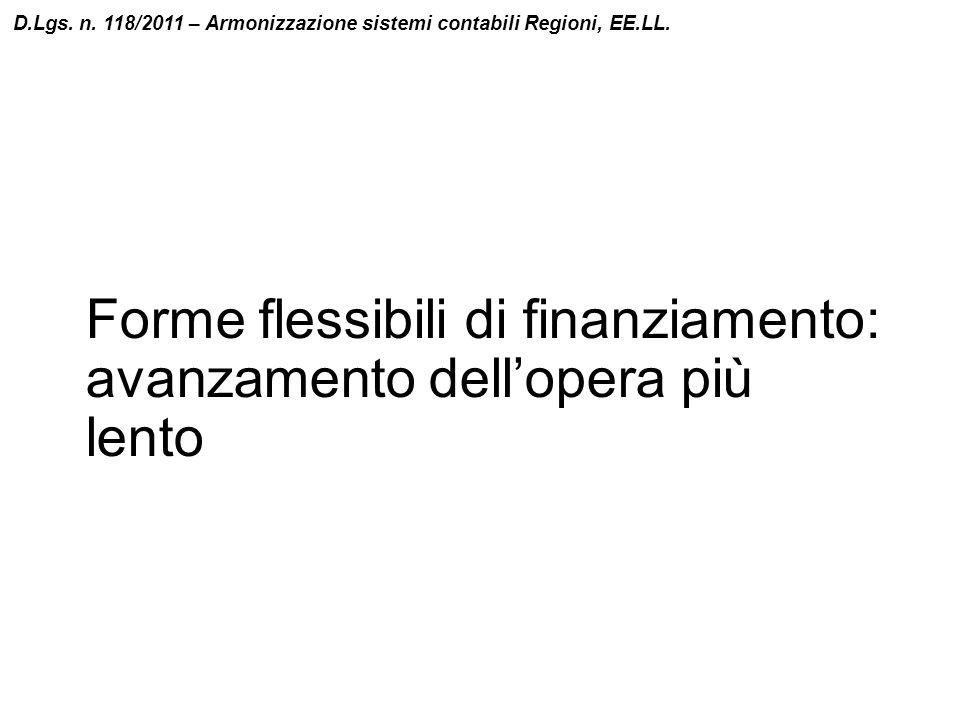 Forme flessibili di finanziamento: avanzamento dell'opera più lento D.Lgs. n. 118/2011 – Armonizzazione sistemi contabili Regioni, EE.LL.