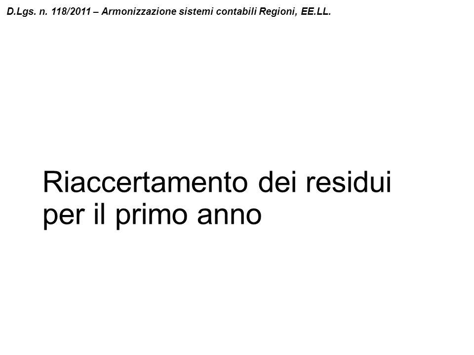 Riaccertamento dei residui per il primo anno D.Lgs. n. 118/2011 – Armonizzazione sistemi contabili Regioni, EE.LL.