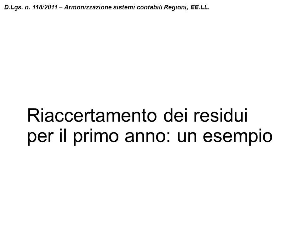 Riaccertamento dei residui per il primo anno: un esempio D.Lgs. n. 118/2011 – Armonizzazione sistemi contabili Regioni, EE.LL.