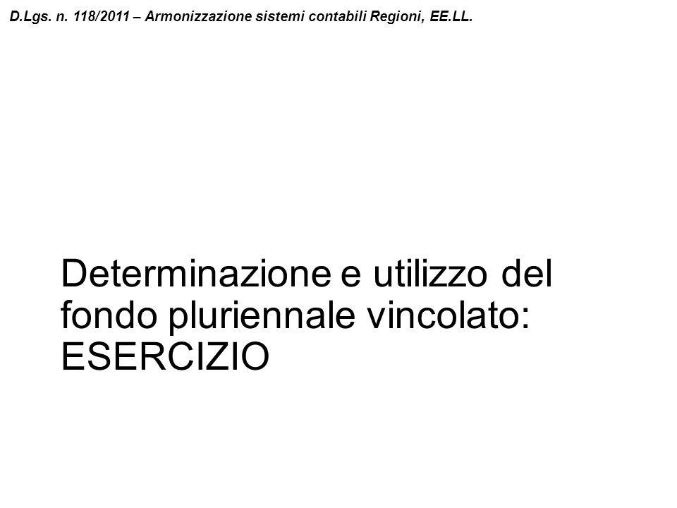 Determinazione e utilizzo del fondo pluriennale vincolato: ESERCIZIO D.Lgs. n. 118/2011 – Armonizzazione sistemi contabili Regioni, EE.LL.