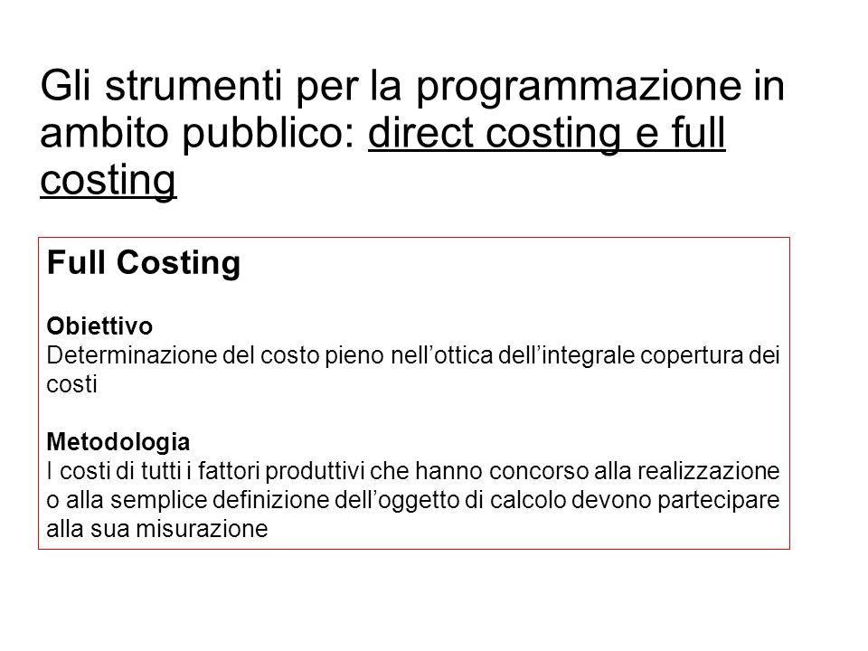 Prof. Paolo Ricci Gli strumenti per la programmazione in ambito pubblico: direct costing e full costing Full Costing Obiettivo Determinazione del cost