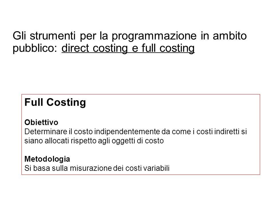 Prof. Paolo Ricci Gli strumenti per la programmazione in ambito pubblico: direct costing e full costing Full Costing Obiettivo Determinare il costo in