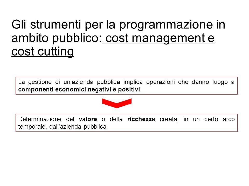 Gli strumenti per la programmazione in ambito pubblico: cost management e cost cutting La gestione di un'azienda pubblica implica operazioni che danno