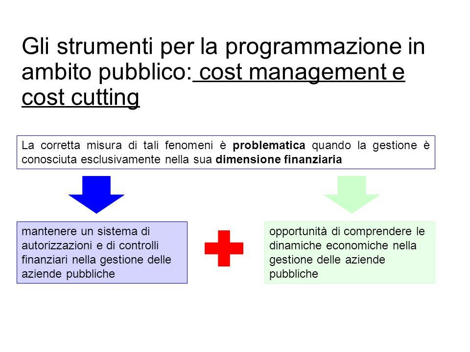 Prof. Paolo Ricci Gli strumenti per la programmazione in ambito pubblico: cost management e cost cutting La corretta misura di tali fenomeni è problem
