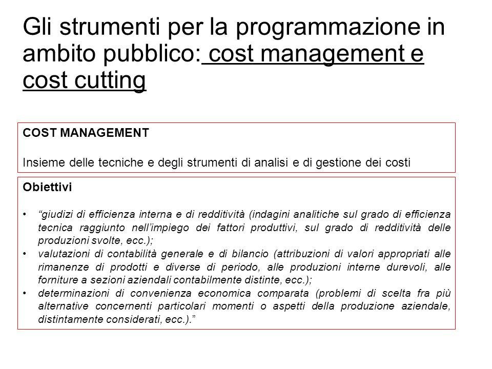 Prof. Paolo Ricci Gli strumenti per la programmazione in ambito pubblico: cost management e cost cutting COST MANAGEMENT Insieme delle tecniche e degl