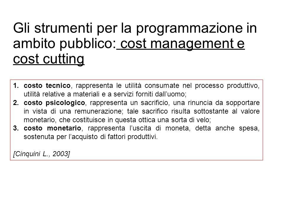Gli strumenti per la programmazione in ambito pubblico: cost management e cost cutting 1.costo tecnico, rappresenta le utilità consumate nel processo