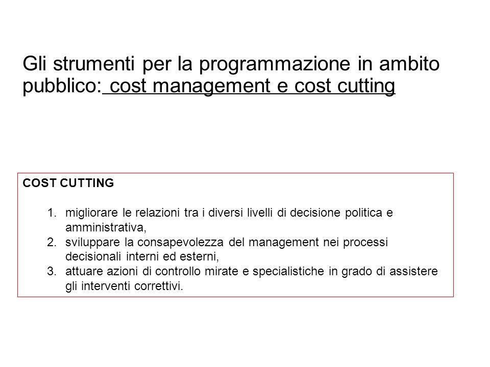 Gli strumenti per la programmazione in ambito pubblico: cost management e cost cutting COST CUTTING 1.migliorare le relazioni tra i diversi livelli di