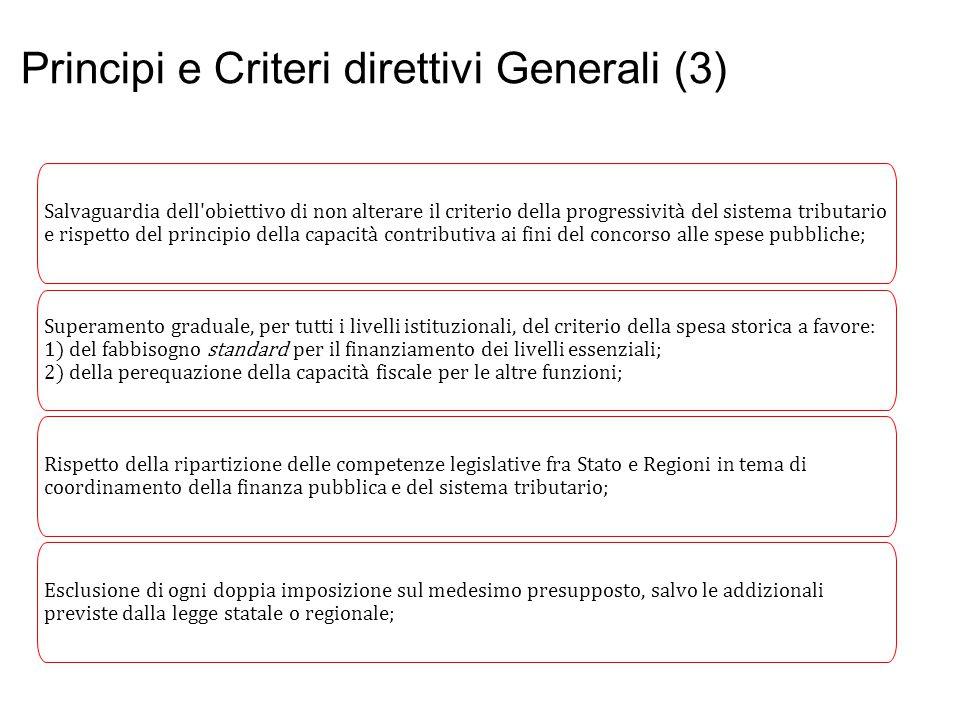Principi e Criteri direttivi Generali (3) Salvaguardia dell'obiettivo di non alterare il criterio della progressività del sistema tributario e rispett
