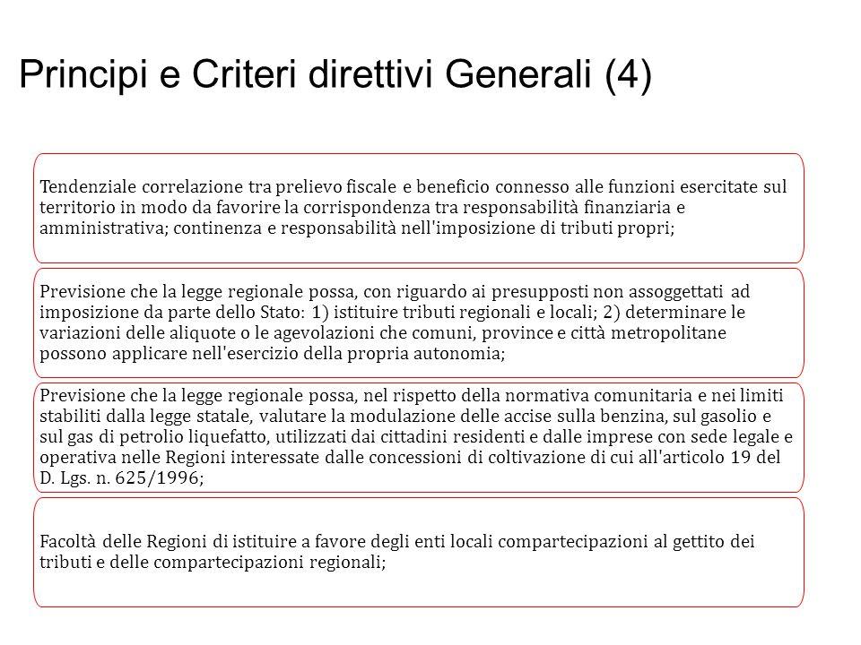 Principi e Criteri direttivi Generali (4) Tendenziale correlazione tra prelievo fiscale e beneficio connesso alle funzioni esercitate sul territorio i