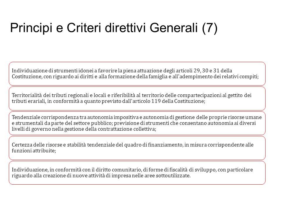 Principi e Criteri direttivi Generali (7) Prof. Paolo Ricci Individuazione di strumenti idonei a favorire la piena attuazione degli articoli 29, 30 e