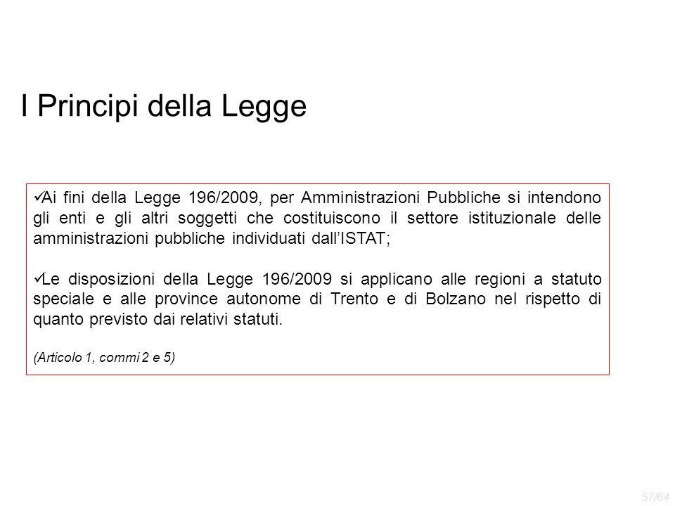 I Principi della Legge Ai fini della Legge 196/2009, per Amministrazioni Pubbliche si intendono gli enti e gli altri soggetti che costituiscono il set
