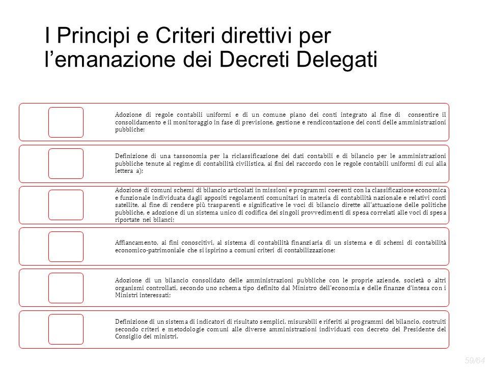 I Principi e Criteri direttivi per l'emanazione dei Decreti Delegati Adozione di regole contabili uniformi e di un comune piano dei conti integrato al