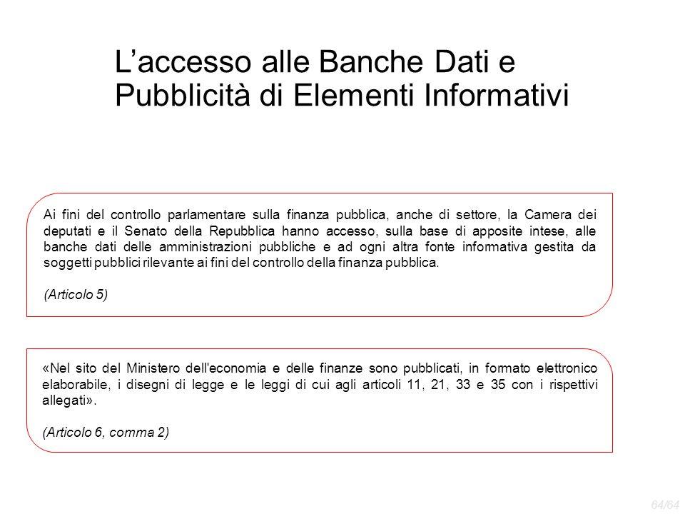 L'accesso alle Banche Dati e Pubblicità di Elementi Informativi Ai fini del controllo parlamentare sulla finanza pubblica, anche di settore, la Camera