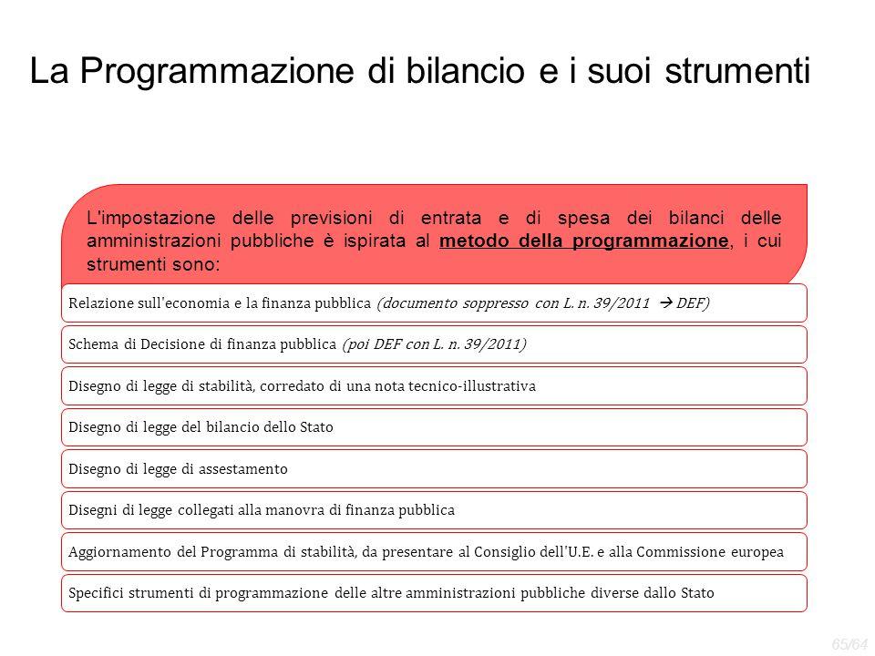 La Programmazione di bilancio e i suoi strumenti L'impostazione delle previsioni di entrata e di spesa dei bilanci delle amministrazioni pubbliche è i