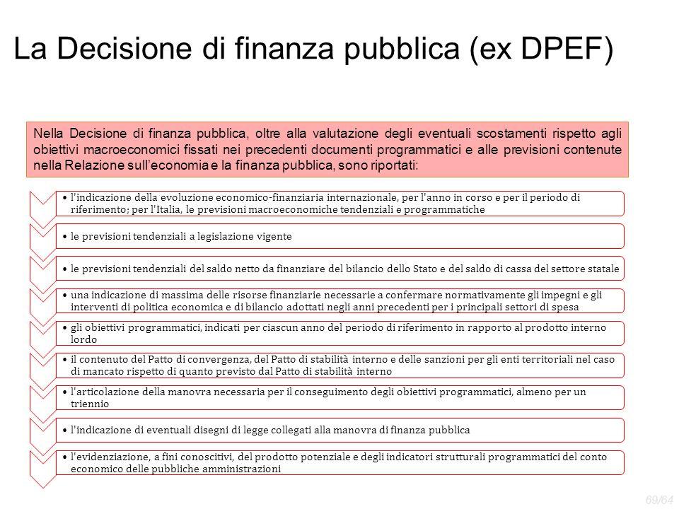 La Decisione di finanza pubblica (ex DPEF) Nella Decisione di finanza pubblica, oltre alla valutazione degli eventuali scostamenti rispetto agli obiet