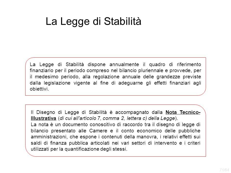 La Legge di Stabilità La Legge di Stabilità dispone annualmente il quadro di riferimento finanziario per il periodo compreso nel bilancio pluriennale