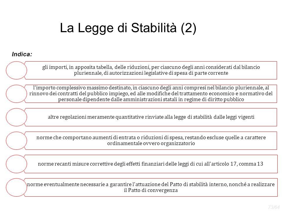 La Legge di Stabilità (2) Indica: gli importi, in apposita tabella, delle riduzioni, per ciascuno degli anni considerati dal bilancio pluriennale, di