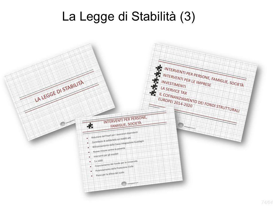 La Legge di Stabilità (3) 74/64