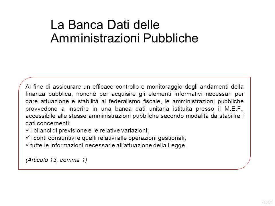 La Banca Dati delle Amministrazioni Pubbliche Al fine di assicurare un efficace controllo e monitoraggio degli andamenti della finanza pubblica, nonch