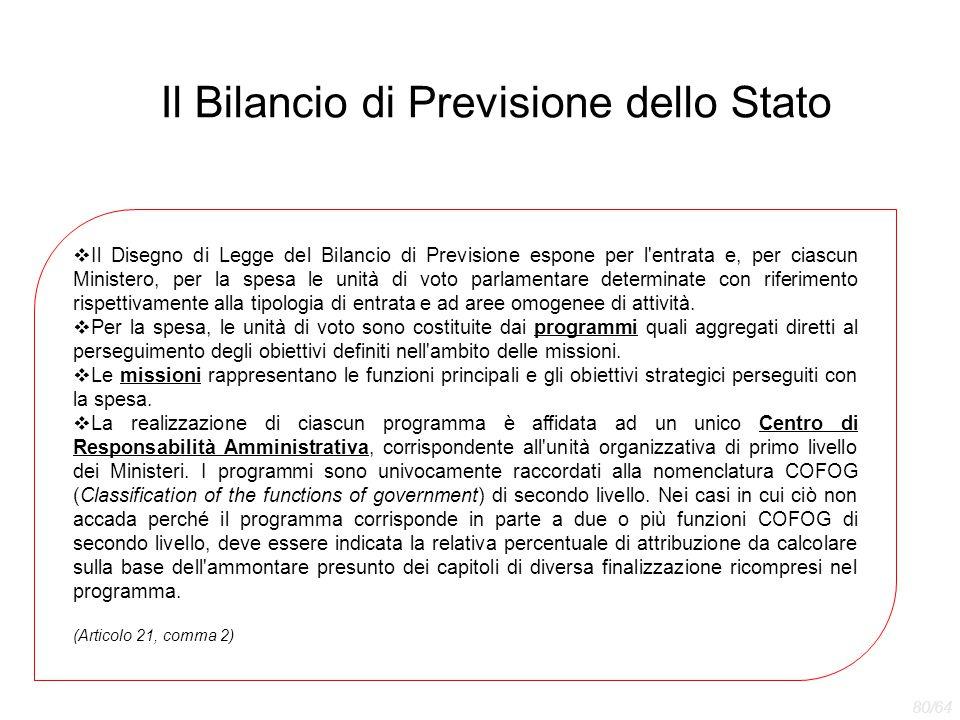 Il Bilancio di Previsione dello Stato  Il Disegno di Legge del Bilancio di Previsione espone per l'entrata e, per ciascun Ministero, per la spesa le