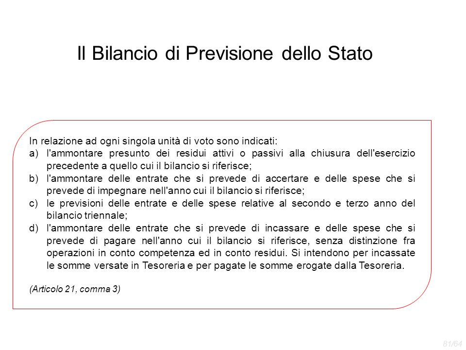 Il Bilancio di Previsione dello Stato In relazione ad ogni singola unità di voto sono indicati: a)l'ammontare presunto dei residui attivi o passivi al