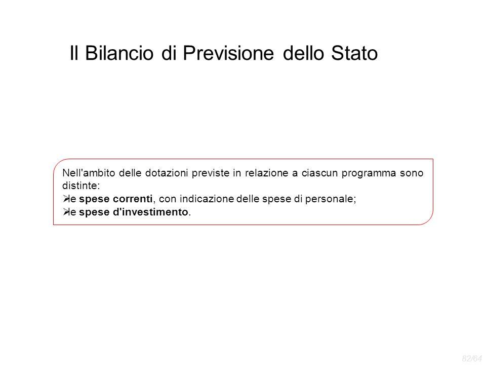 Il Bilancio di Previsione dello Stato Nell'ambito delle dotazioni previste in relazione a ciascun programma sono distinte:  le spese correnti, con in