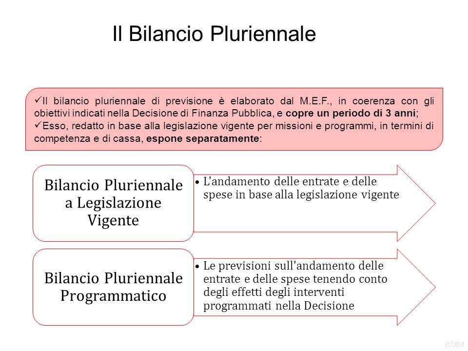 Il Bilancio Pluriennale Il bilancio pluriennale di previsione è elaborato dal M.E.F., in coerenza con gli obiettivi indicati nella Decisione di Finanz