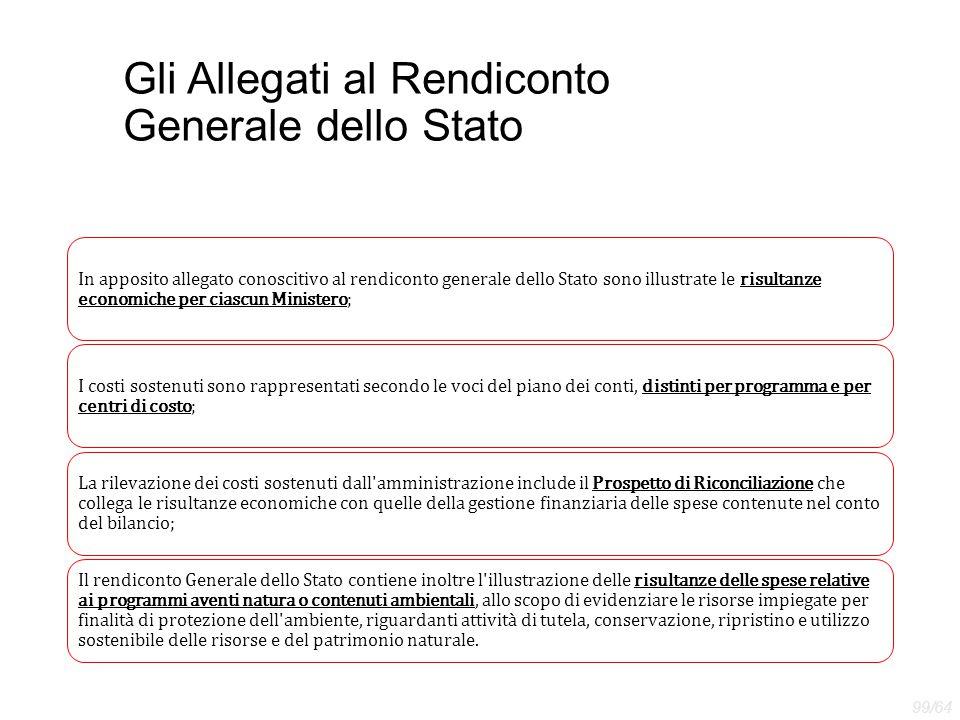 Gli Allegati al Rendiconto Generale dello Stato In apposito allegato conoscitivo al rendiconto generale dello Stato sono illustrate le risultanze econ
