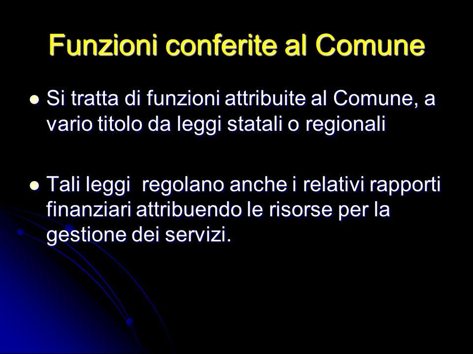 Funzioni conferite al Comune Si tratta di funzioni attribuite al Comune, a vario titolo da leggi statali o regionali Si tratta di funzioni attribuite
