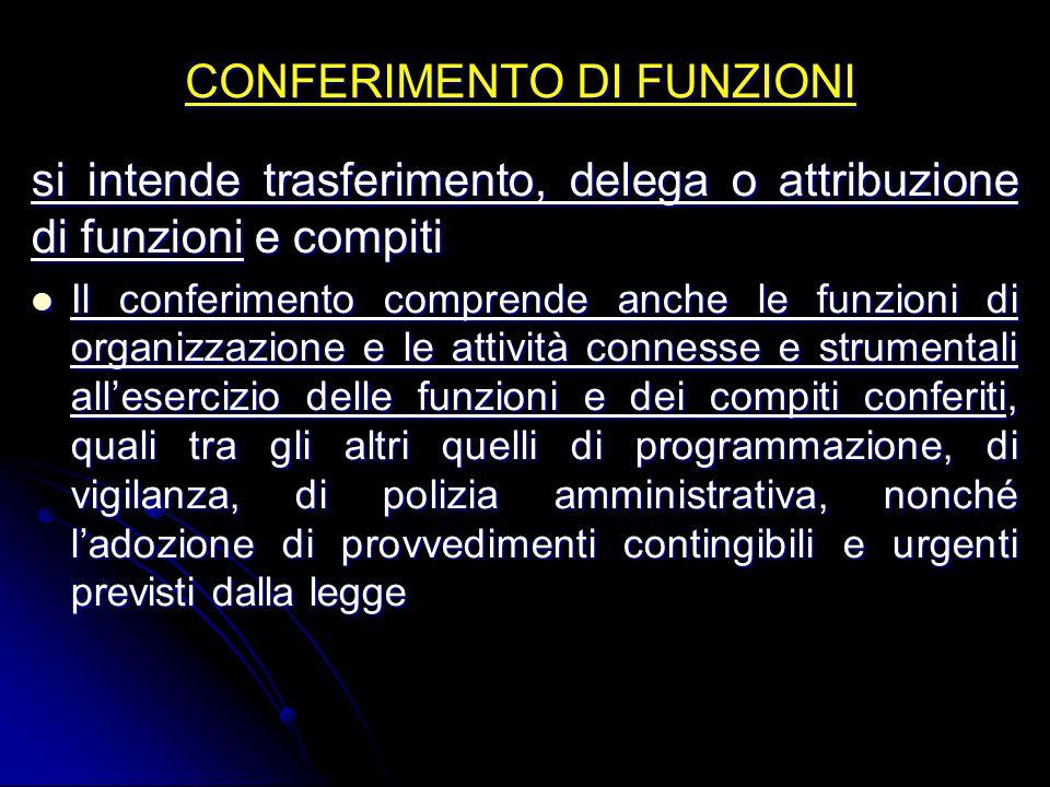 CONFERIMENTO DI FUNZIONI si intende trasferimento, delega o attribuzione di funzioni e compiti Il conferimento comprende anche le funzioni di organizz