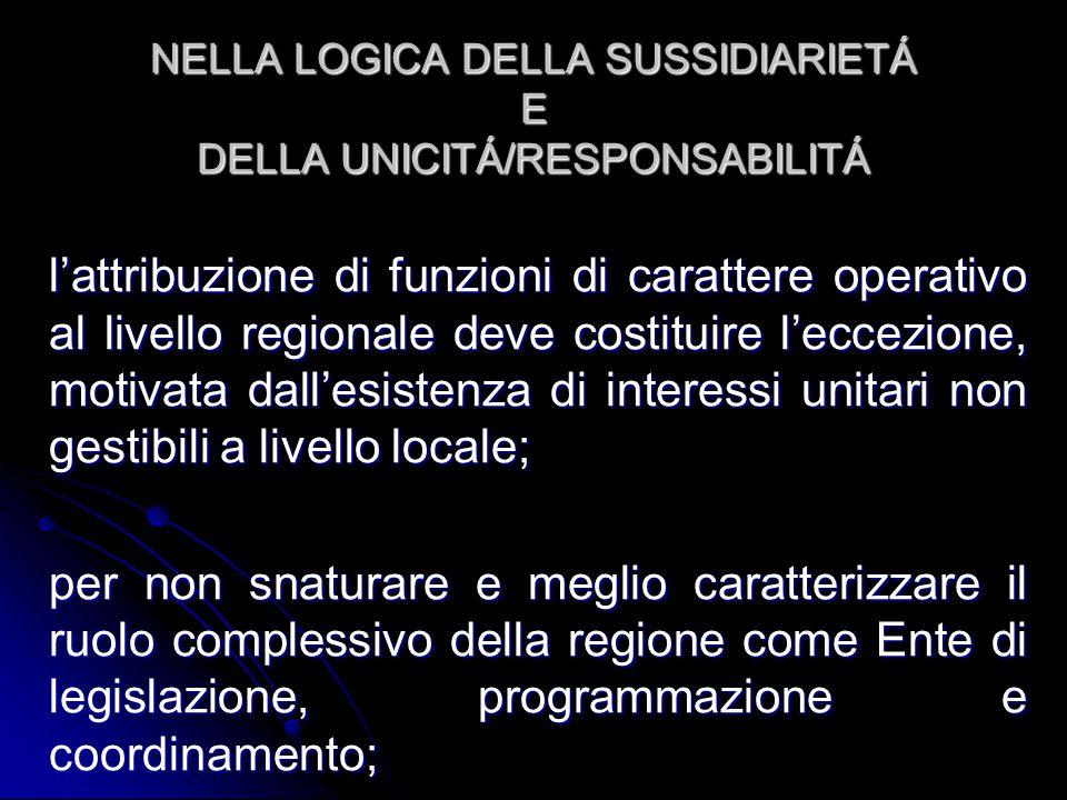 NELLA LOGICA DELLA SUSSIDIARIETÁ E DELLA UNICITÁ/RESPONSABILITÁ l'attribuzione di funzioni di carattere operativo al livello regionale deve costituire