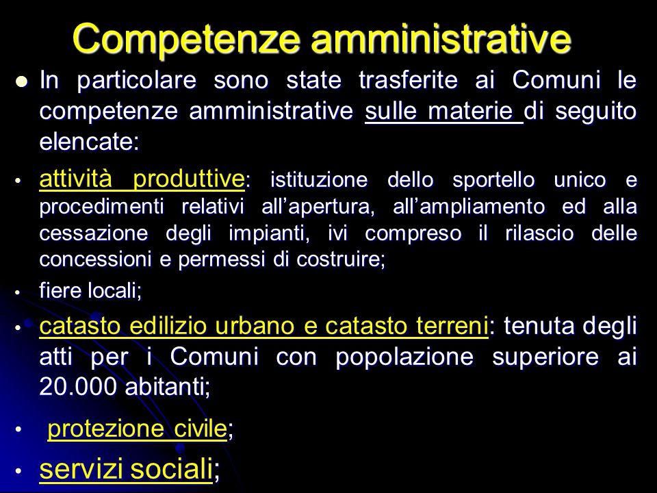 Competenze amministrative In particolare sono state trasferite ai Comuni le competenze amministrative sulle materie di seguito elencate: In particolar
