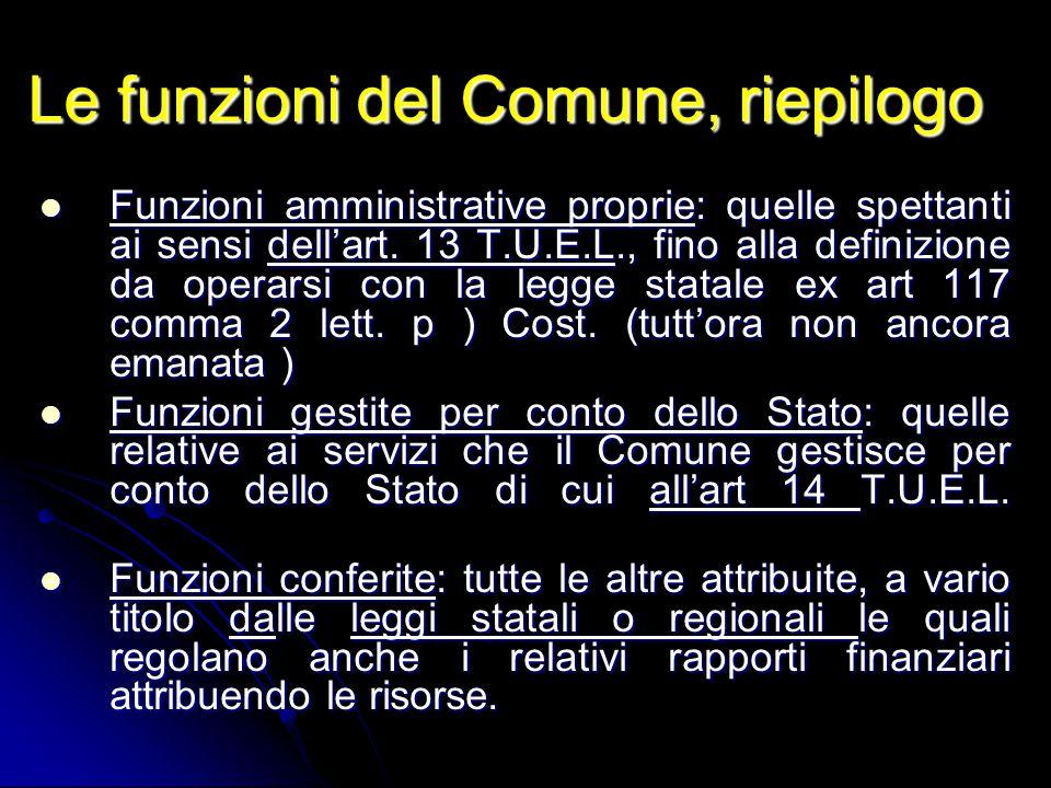 Le funzioni del Comune, riepilogo Funzioni amministrative proprie: quelle spettanti ai sensi dell'art. 13 T.U.E.L., fino alla definizione da operarsi