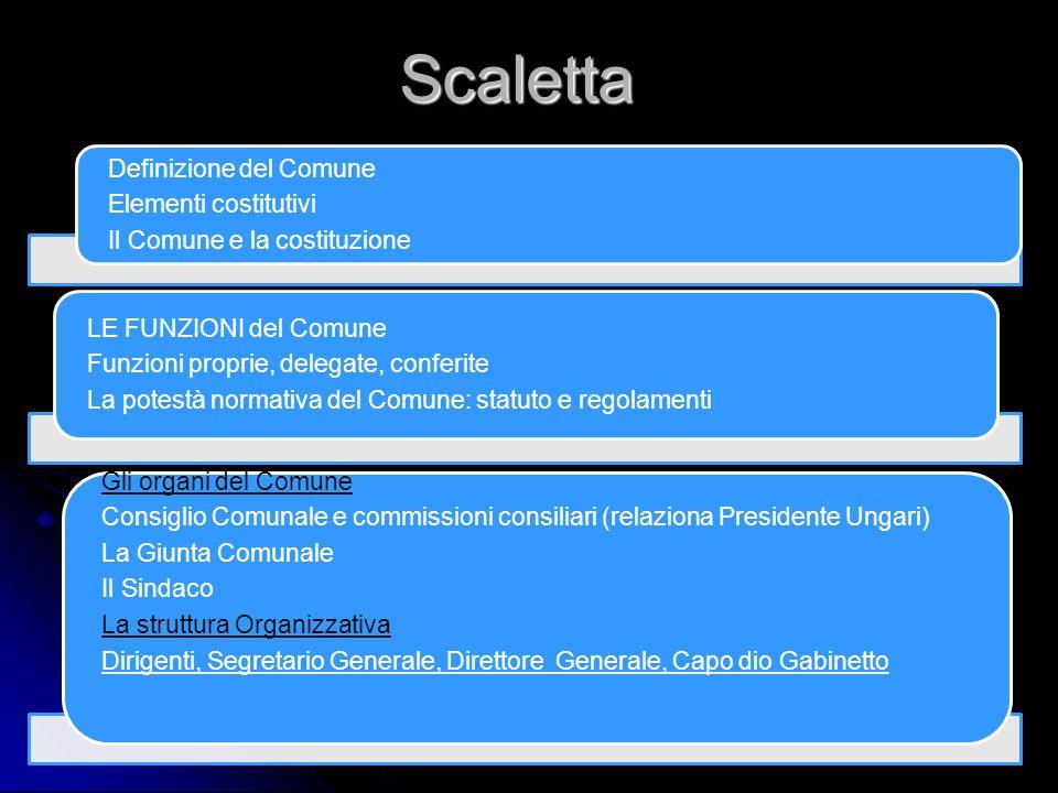 Scaletta Definizione del Comune Elementi costitutivi Il Comune e la costituzione LE FUNZIONI del Comune Funzioni proprie, delegate, conferite La potes
